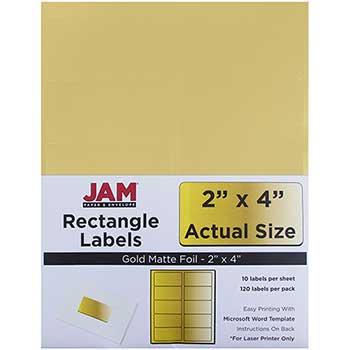 "JAM Paper® Shipping Address Labels, Standard Mailing, 2"" x 4"", Gold Metallic, 120 Labels"
