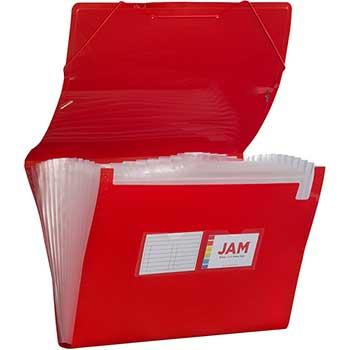 "JAM Paper Plastic Accordion Folder, 13 Pocket Expanding File with Elastic Closure, Legal (10"" x 15""), Red"
