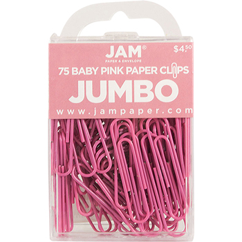 JAM Paper® Paperclips, Jumbo Size, Pink, 75/Pack