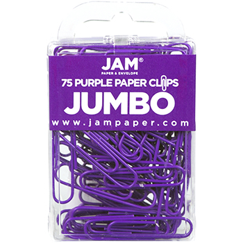 """JAM Paper Colorful Jumbo Paperclips, 2"""", Purple Paperclips, 2/PK"""