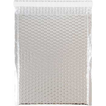 """Bubble Padded Mailers with Self-Adhesive Closure, 9"""" x 12"""", Silver Metallic, 12/PK"""
