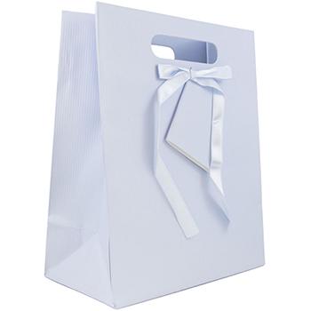 "Gift Bag, 10"" x 13"" x 5 1/2"", Light Blue Pinstripe"