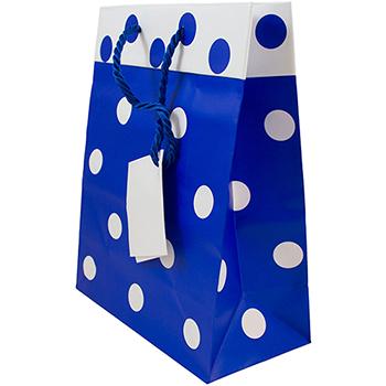 "JAM Paper® Gift Bags, 8"" x 10"" x 4"", Blue & White Polka Dot Matte, 24/PK"