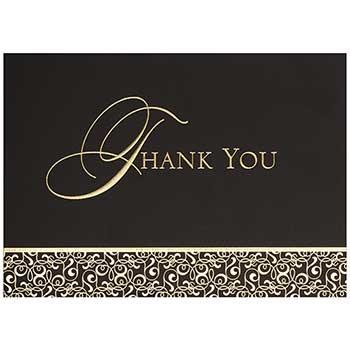 JAM Paper® Thank You Cards Set, Golden Damask, 25 Card Set
