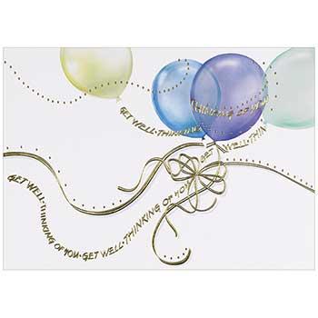JAM Paper Sympathy Cards Set, Get Well Balloons, 25 Card Set