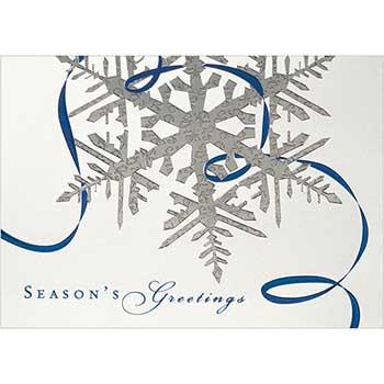 Blank Christmas Card & Matching Envelopes Set, Silver Snowflake Season's Greetings, 25/PK