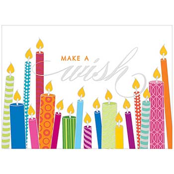 JAM Paper® Birthday Cards Set, Make a Wish, 25 Card Set