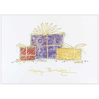 JAM Paper® Birthday Cards Set, Drawn Presents, 25 Card Set