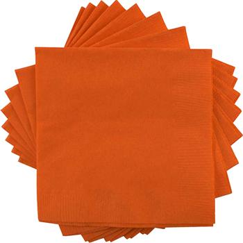 """JAM Paper® Bulk Lunch Napkins - Medium - 6 1/2"""" x 6 1/2""""- Orange - 600 Napkins/Case"""