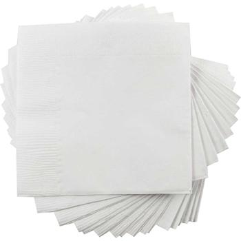 "JAM Paper® Bulk Lunch Napkins - Medium - 6 1/2"" x 6 1/2""- White - 600 Napkins/Case"