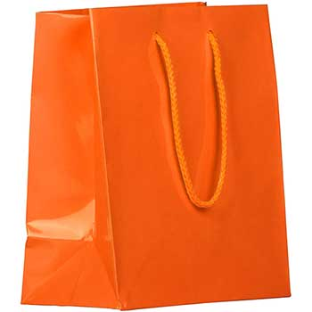 """JAM Paper® Glossy Gift Bags with Rope Handles, 8"""" x 4"""" x 10"""", Orange, 6/PK"""