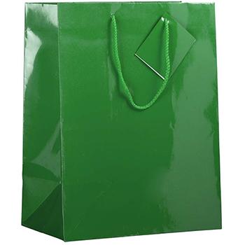 "JAM Paper® Glossy Gift Bags, 10"" x 5"" x 13"", Green, 6/PK"