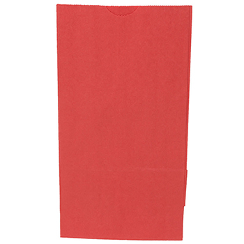 "Kraft Lunch Bags, 5"" x 3"" x 9 3/4"", Red, 500/BX"