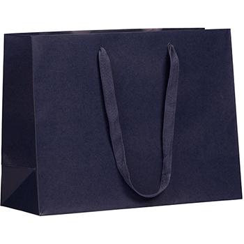 "JAM Paper Matte Horizontal Gift Bag, 17"" x 6"" x 13"", Navy Blue Recycled"