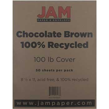 JAM Paper Matte Cardstock, 8.5 x 11, 100lb Chocolate Brown, 50/pack