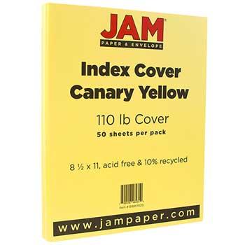 Vellum Bristol Index Cardstock, 8 1/2 x 11, 110lb Canary, 50/PK