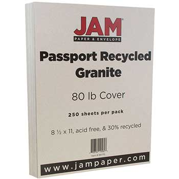 Recycled Cardstock, 8 1/2 x 11, 80lb Passport Granite, 250/RM
