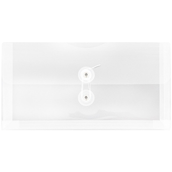 "#10 Plastic Envelopes with Button and String Tie Closure, 5 1/4"" x 10"", Clear Poly, 12/PK"