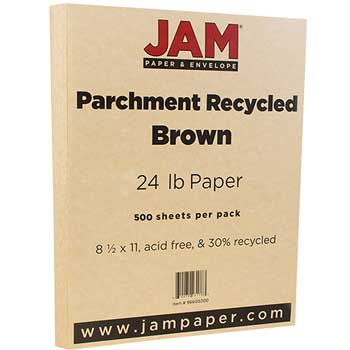JAM Paper® Recycled Parchment Paper, 8 1/2 x 11, Brown, 500/RM