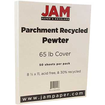 JAM Paper Recycled Parchment Cardstock, 8 1/2 x 11, 65lb Pewter, 50/PK