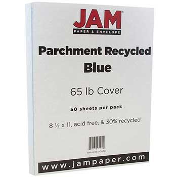 JAM Paper Recycled Parchment Cardstock, 8 1/2 x 11, 65lb Blue, 50/PK