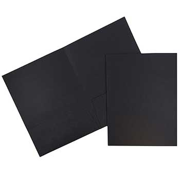 Two Pocket Business Folders, Textured Linen, Black, 100/BX