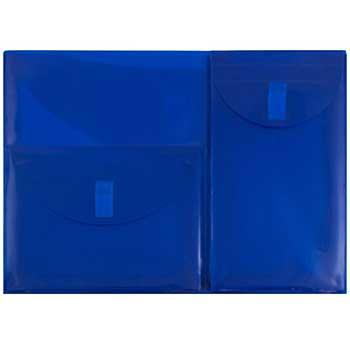 """Plastic Multi Pocket Envelope with Hook & Loop Closure, 3 Pockets, Letter Booklet, 9 3/4"""" x 13"""", Blue"""