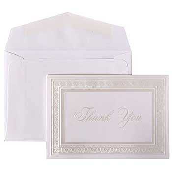 JAM Paper Thank You Cards Set, Bright White with Pearl Border, 104 Note Cards with 100 Envelopes