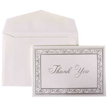 Thank You Cards Set, Bright White with Silver Border, 104 Note Cards with 100 Envelopes