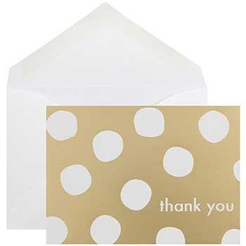 JAM Paper® Thank You Card Set, Gold Polka Dot, 10 Card Set