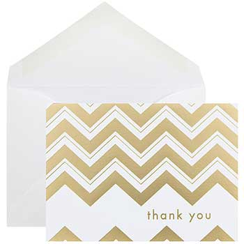 JAM Paper® Blank Thank You Card Set, Gold Chevron Stripe, 10 Card Set