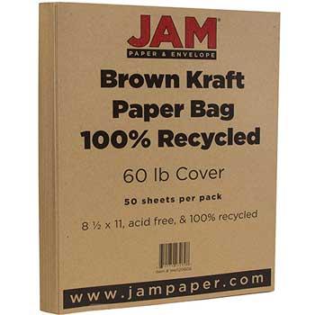 JAM Paper Matte Cardstock, 8.5 x 11, 60lb Brown Kraft, 50/pack