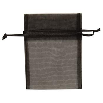 """JAM Paper Sheer Organza Gift Bags, 3"""" x 4"""", Black, 96/PK"""