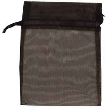 """JAM Paper® Sheer Organza Gift Bags, 5 1/2"""" x 9"""", Black, 12/PK"""