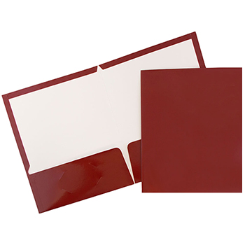 Laminated Two-Pocket Glossy Folders, Maroon Red, 100/BX