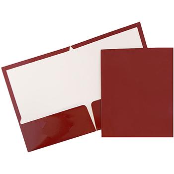JAM Paper Laminated Two Pocket Glossy Folders, Maroon Red, 25/PK