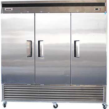 Bison Refrigeration Three Door Stainless Steel Reach-In Freezer