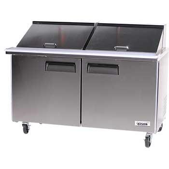 "Bison Refrigeration Stainless Steel Mega Top Two Door Sandwich Unit, 60 1/4"""