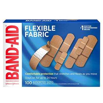 BAND-AID® Assorted Fabric Adhesive Bandages, 100/BX