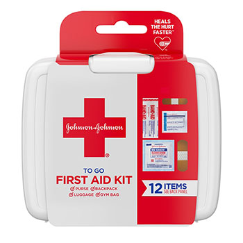 Johnson & Johnson® First Aid To Go! 12 Piece Portable Mini Travel Kit
