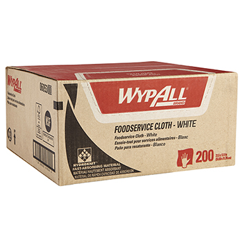 WypAll® Foodservice Extended Use Reusable Cloths (06053), Quarterfold, White Cloths, 1 Box, 200 Sheets