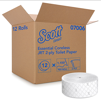 Essential Jumbo Roll Coreless Toilet Paper (07006), 2-PLY, White, 1150'/Roll, 12 Rolls/ CT