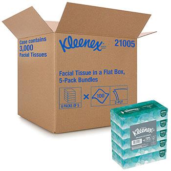 Kleenex® Facial Tissue, 2 Ply, 5 Boxes/Pack, 6 Packs/Carton
