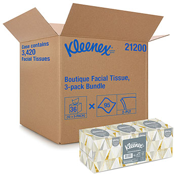 Kleenex® Facial Tissue, Pop-Up Box, 3 Boxes/Pack, 4 Packs/Carton