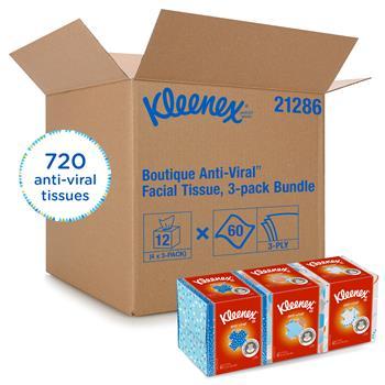 Kleenex® Boutique Anti-Viral Facial Tissue, Pop-Up Box, 60 Sheets/BX, 12/CT