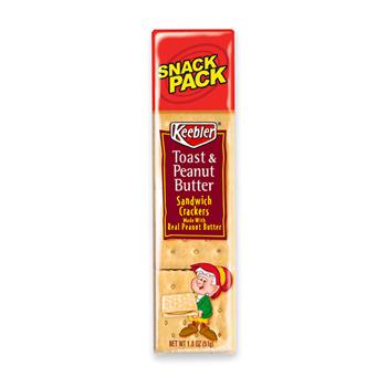 Keebler® Sandwich Crackers, Peanut Butter, 8 Cracker Snack Pack, 12/BX