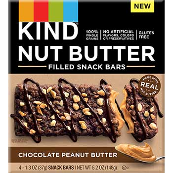 Nut Butter Filled Snack Bars, Chocolate Peanut Butter, 5.2 oz., 4/PK
