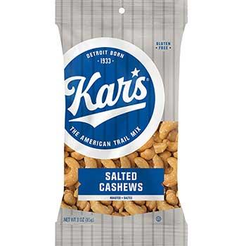Kar's Roasted Salted Cashews, Fresh Harvest, 3 oz. Bag, 12/CS