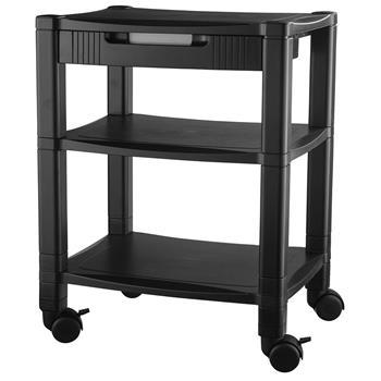 Kantek Mobile Printer Stand, Three-Shelf, 17w x 13-1/4d x 24-1/4h, Black