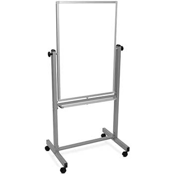 "Luxor Magnetic Double-Sided Dry-Erase Mobile Whiteboard, Steel, 24""W x 36""H, Aluminum Frame"
